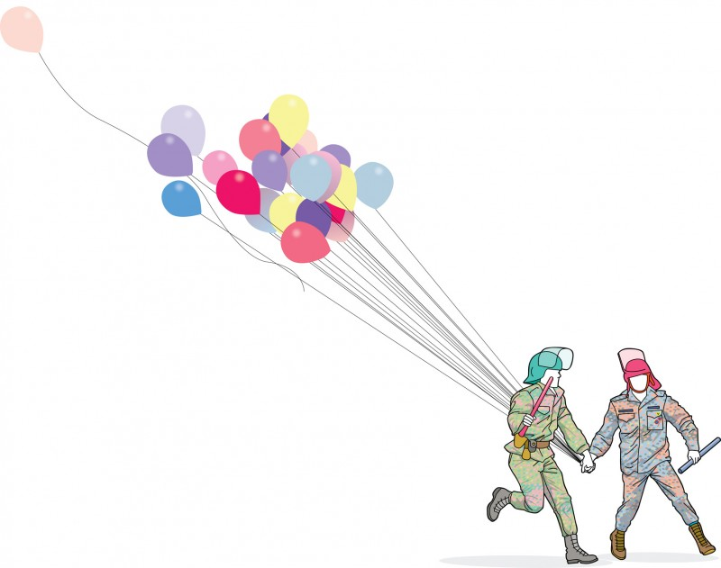 Police with baloons - копия