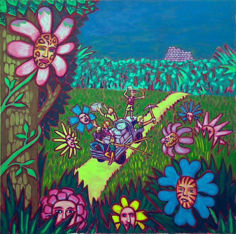 Георгий Литичевский Столкновение семьи строителя пирамид с цветами-хищниками. 2013, Холст, акрил