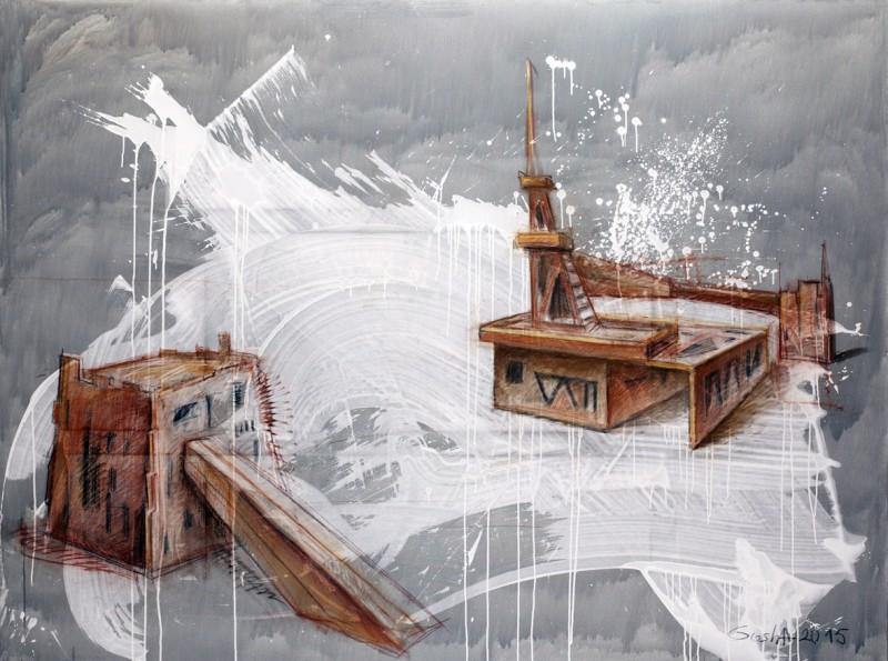 Георгий Остецов Центр просветвлений 2015 холст смешенная техника 200х180 см